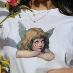 Harajuku Ulzzang spoof angel female O-Neck T-shirt