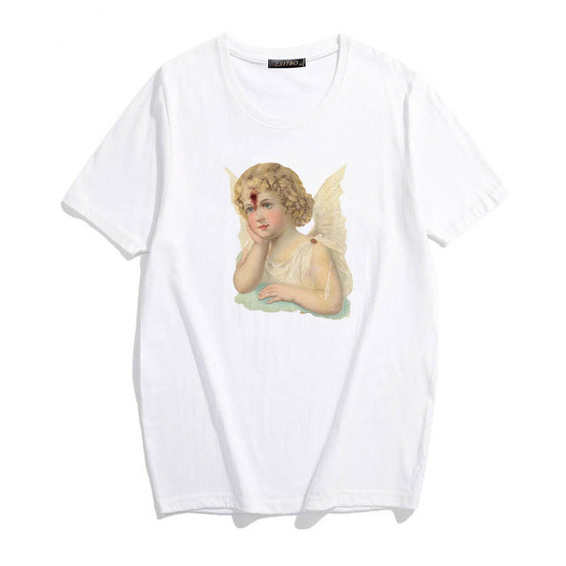 Harajuku Ulzzang spoof angel female O-Neck T-shirt - BernardoModa
