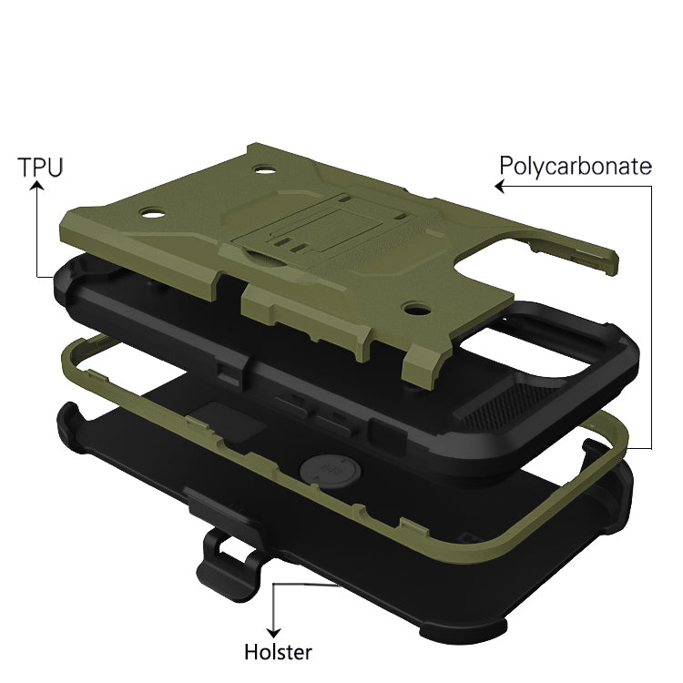 iPhone 11 Case Army Green+ Black Warrior Tough Armor With Holster