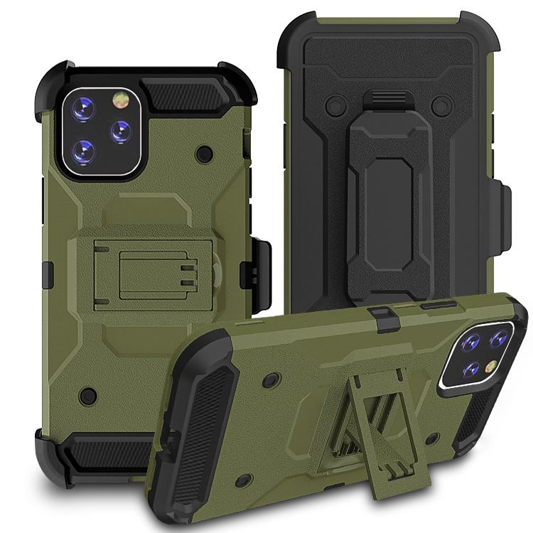 iPhone11 Pro Max Case Warrior Tough Armor With Holster  Army Green+ Black
