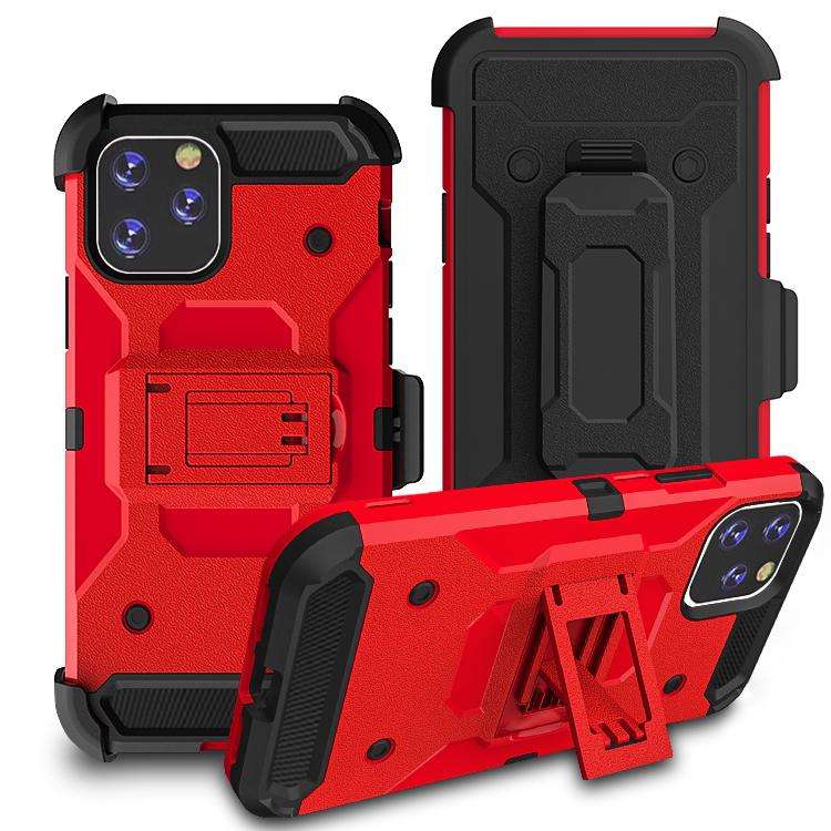 iPhone11 Pro Max Case Warrior Tough Armor With Holster Bright Red + Black