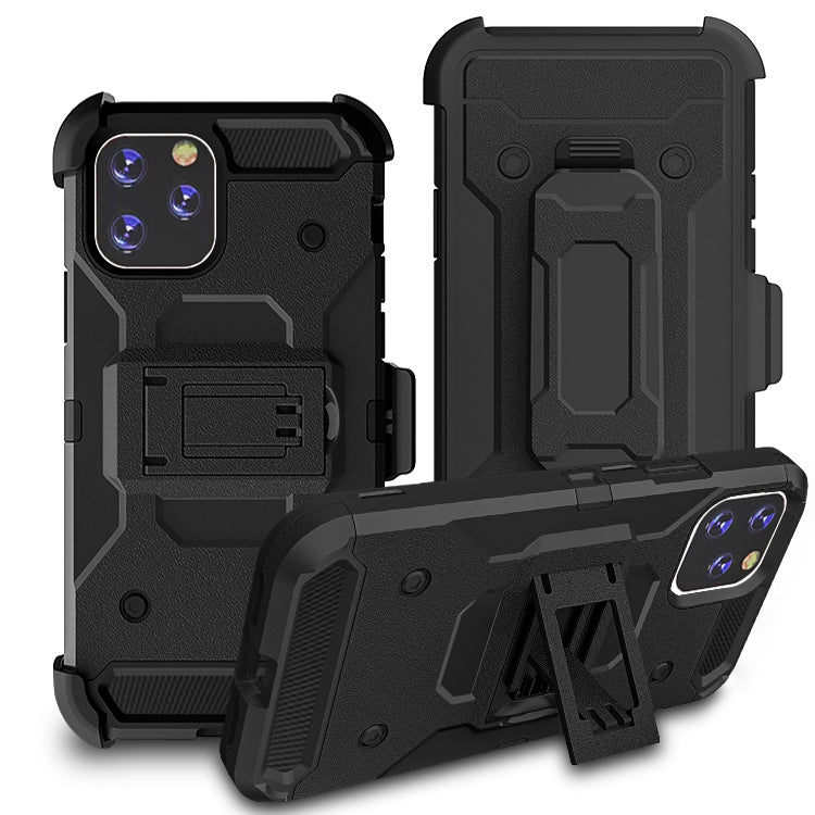 iPhone11 Pro Max Case Warrior Tough Armor With Holster  Black + Black