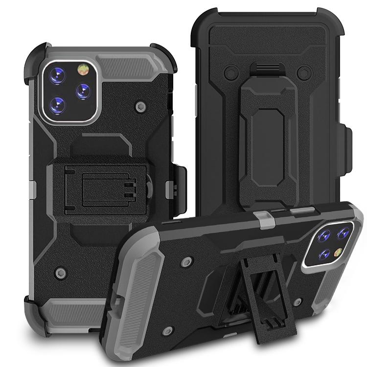 iPhone11 Pro Max Case Warrior Tough Armor With Holster  Black + Solid Grey 2#