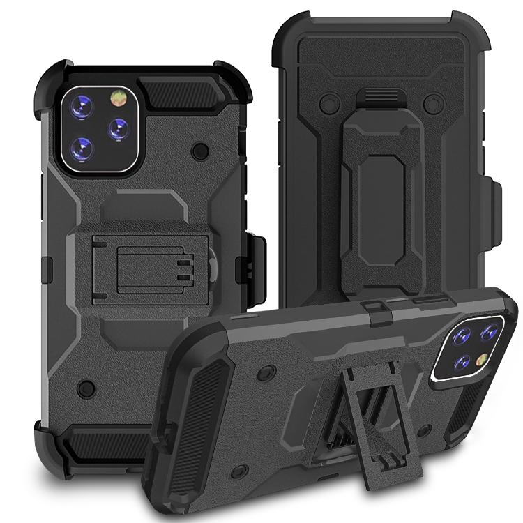 iPhone11 Pro Max Case Warrior Tough Armor With Holster  Dark Grey + Black
