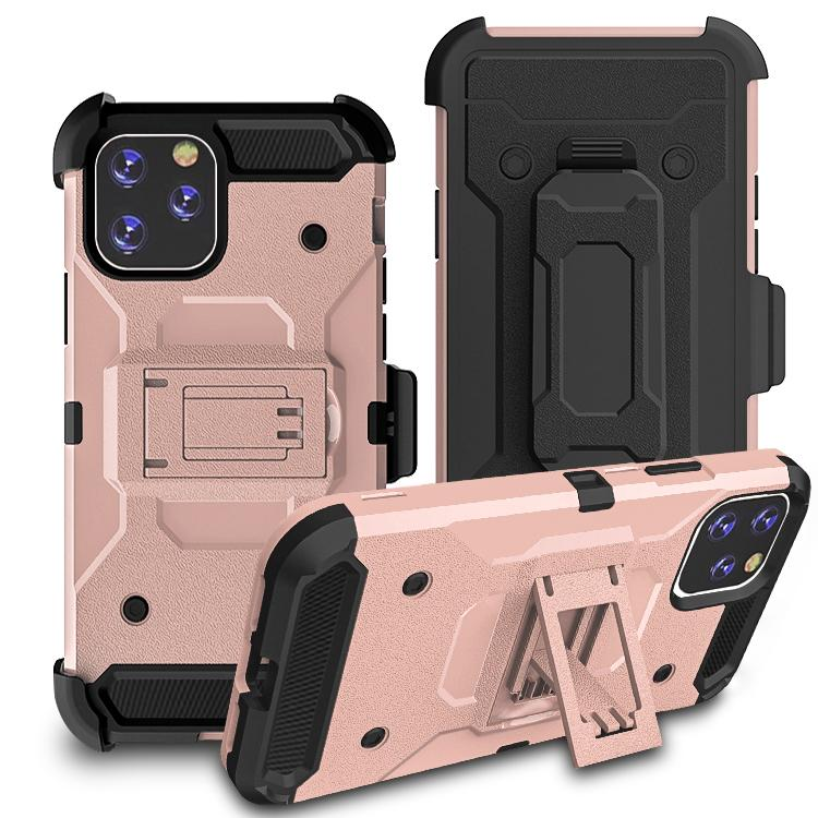 iPhone11 Pro Max Case Warrior Tough Armor With Holster Rose Gold + Black