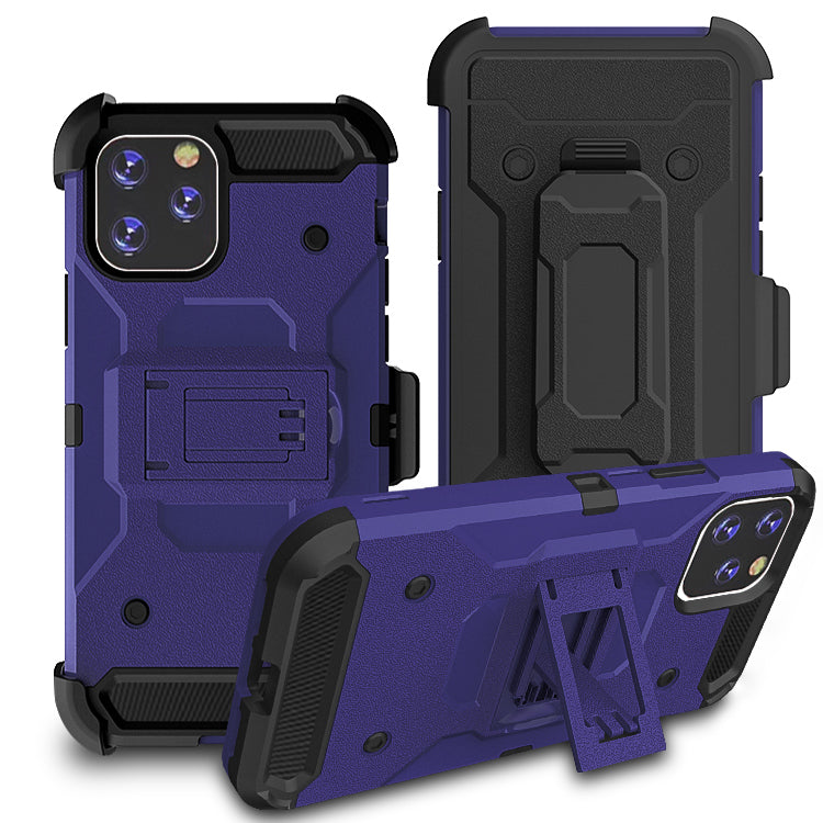 iPhone11 Pro Max Case Warrior Tough Armor With Holster Dark Blue 4# + Black