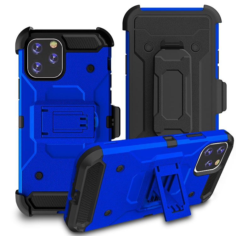 iPhone11 Pro Max Case Warrior Tough Armor With Holster Dark Blue + Black