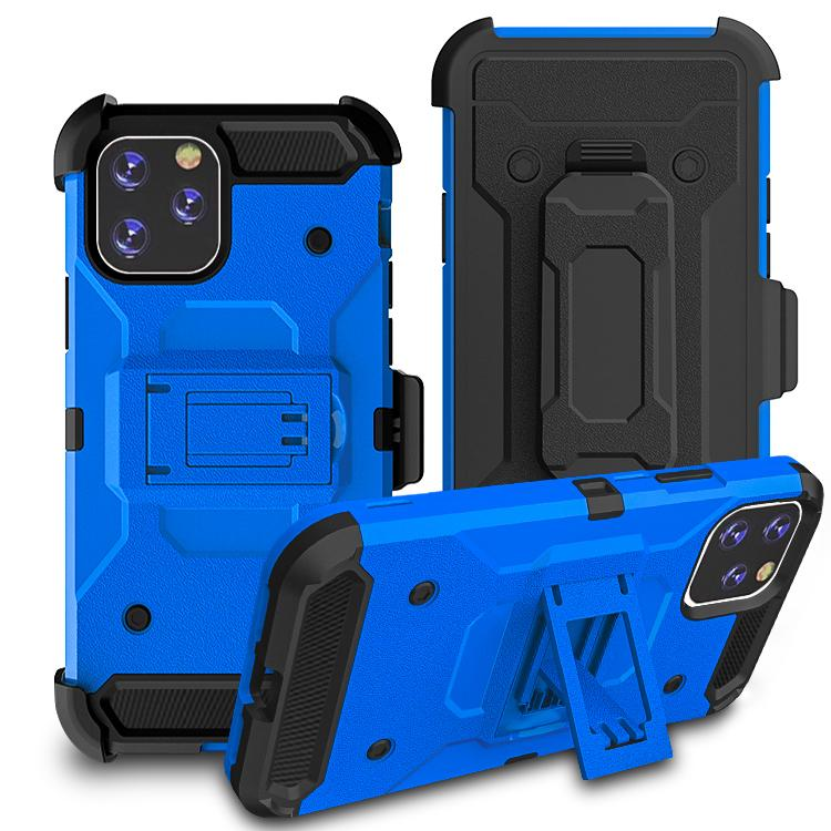 iPhone11 Pro Max Case Warrior Tough Armor With Holster  Sea Blue + Black