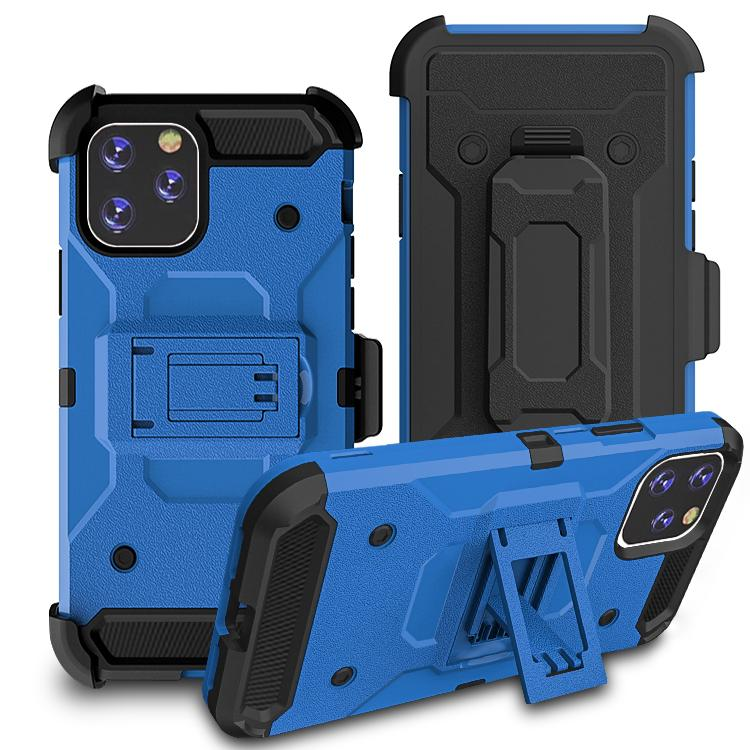 iPhone11 Pro Max Case Warrior Tough Armor With Holster  Light Blue + Black