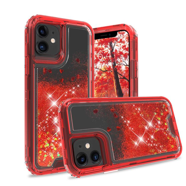 iPhone 11 Case Clear Red Colorful Combo Liquid Quicksand