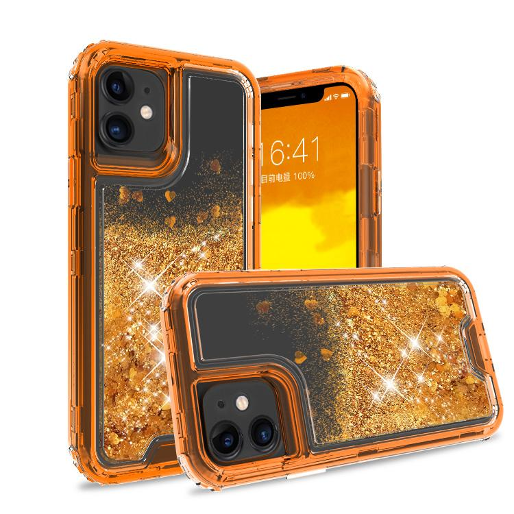 iPhone 11 Case Clear Rosegold Colorful Combo Liquid Quicksand
