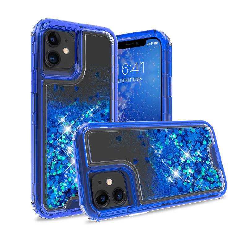 iPhone 11 Case Clear Darkblue Colorful Combo Liquid Quicksand