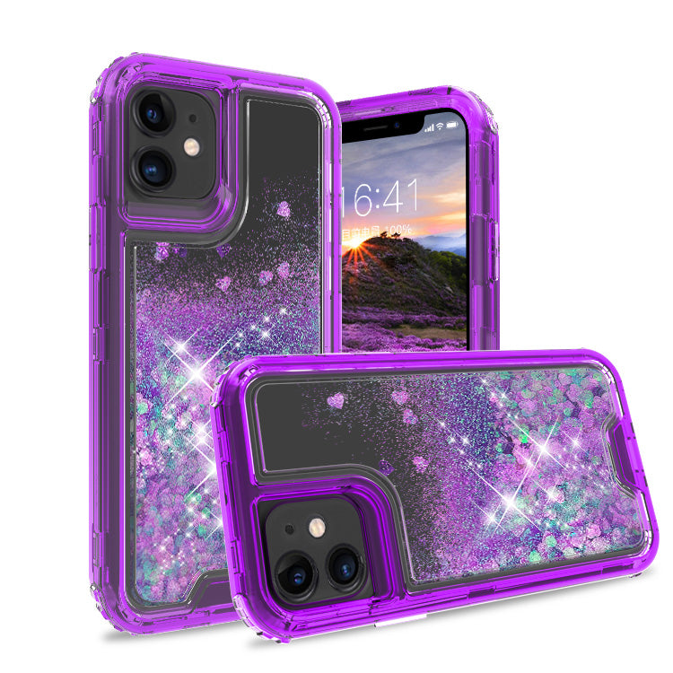iPhone 11 Case Clear LightPurple Colorful Combo Liquid Quicksand