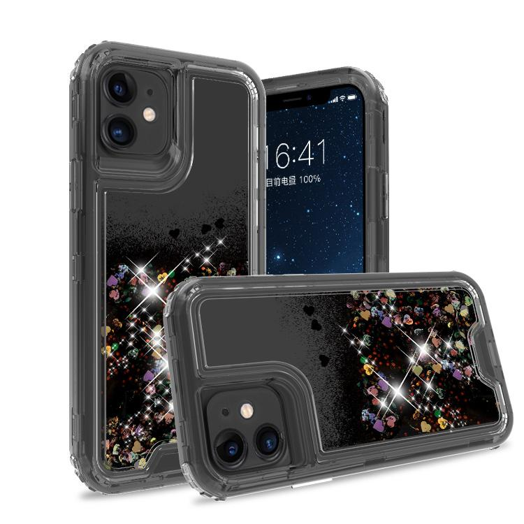 iPhone 11 Case Clear grey Black Colorful Combo Liquid Quicksand