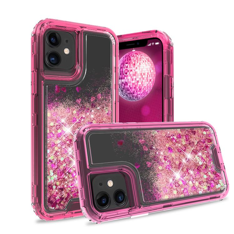 iPhone 11 Case Clear Hot Pink Colorful Combo Liquid Quicksand