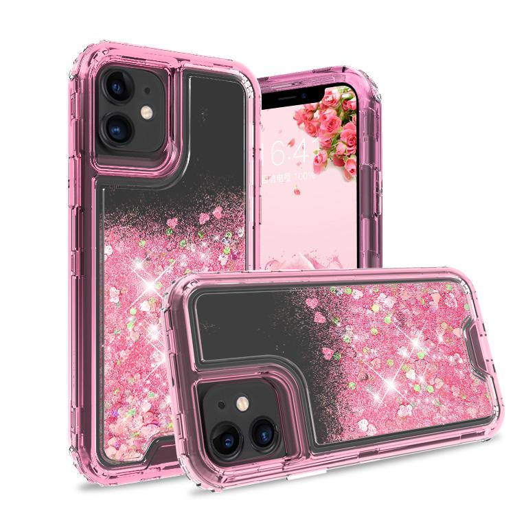 iPhone 11 Case Clear Pink Colorful Combo Liquid Quicksand