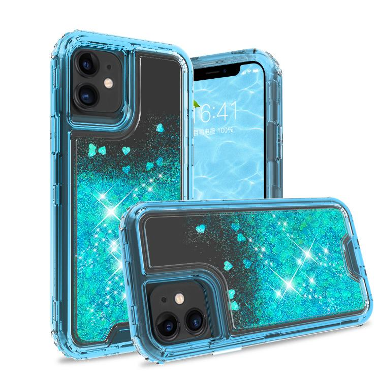iPhone 11 Case Clear Apple Blue Colorful Combo Liquid Quicksand