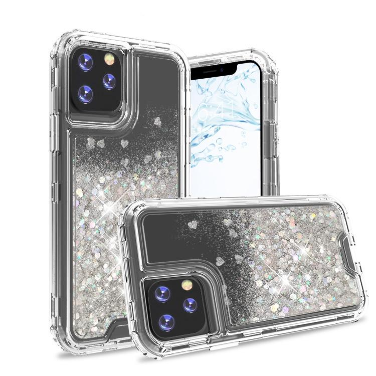 iPhone 11 Pro Case Casenne Clear Silver Colorful Combo Liquid Quicksand