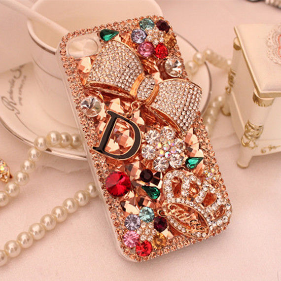 Champagne Rhinestones Bow Crown Flower Bling Hard Case For apple iphone 8 X XS XR 7 7Plus 6 6S 6Plus 6SPlus 5 5S SE 5C