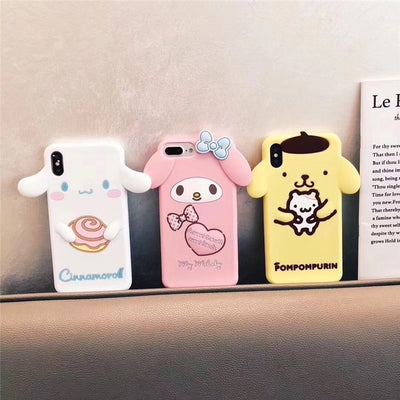 Cute cartoon 3D pink bunny My Melody mobile phone case for iPhone 11 pro max 6 6s 7 8 Plus X XR XS Max soft silicone case Funda