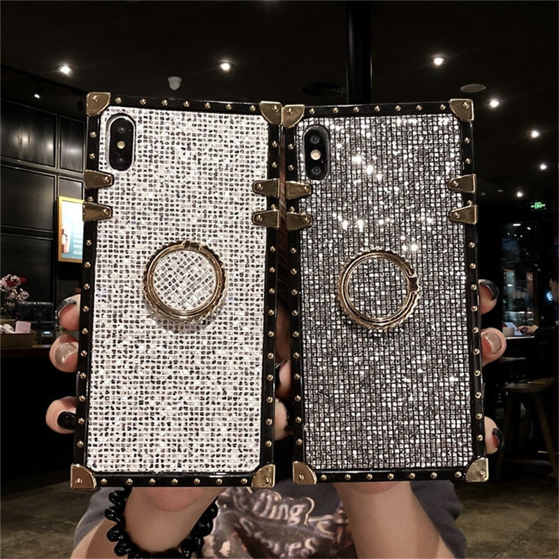 Metal Stand Phone Case For iPhone 11 Pro MAX 6 6S 7 8 Plus XS MAX XR X Luxury Square For Samsung S8 S9 S10e Plus Note 8 9 10 Pro