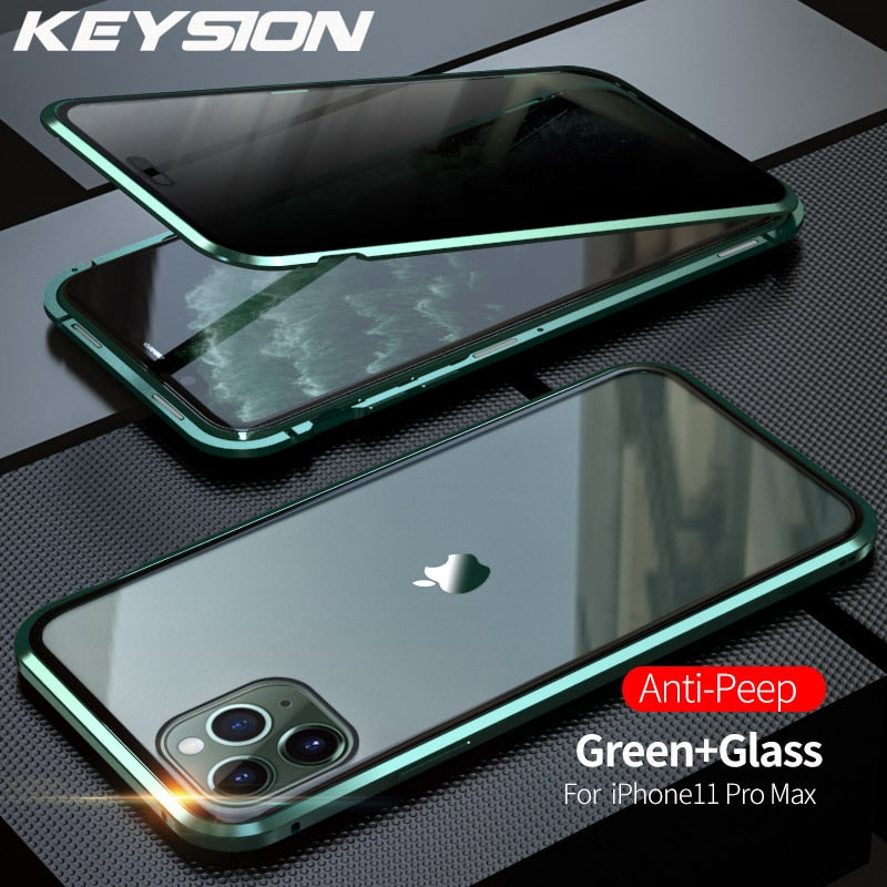 Anti-peeping Metal Phone Case For iPhone 11 Pro Max Anti- Privacy 360 Tempered Glass Cover For iPhone XS Max XR X 7 8