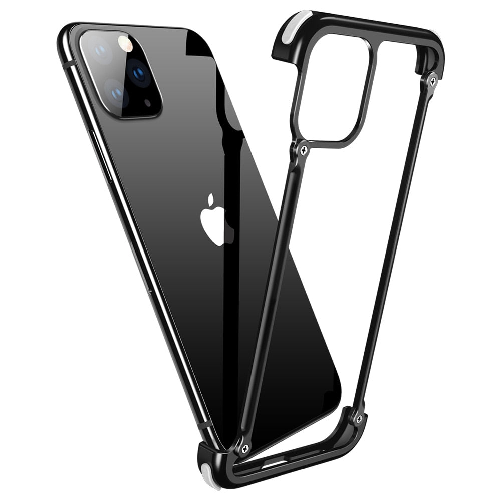 Luxury Case For Iphone 11 11 pro max Airbag Metal Personality Shell for For Iphone 11 pro Case 360 Full Protection Metal Bumper