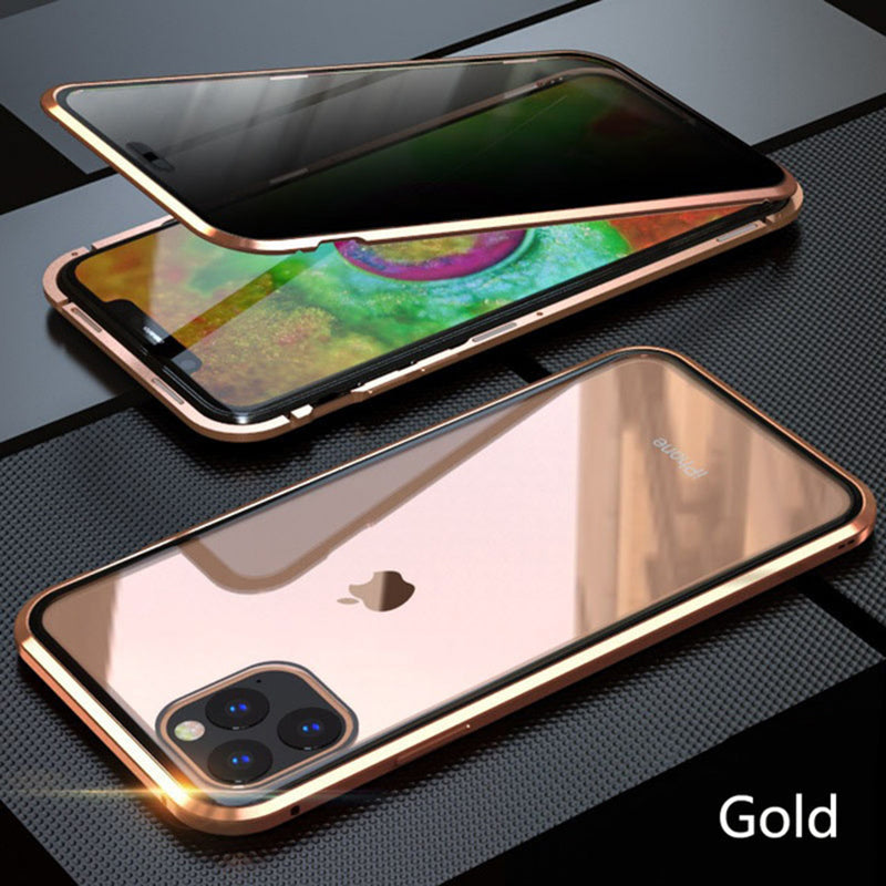 Metallic Magnetic Case For iPhone 11 Pro Max Privacy Double Sided Tempered Glass 360 Covers For iPhone HD Screen Protector Coque