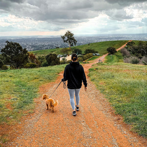 Leah Itsines walking her dog Wally at Mount Osmond Walking Trail in Adelaide, South Australia