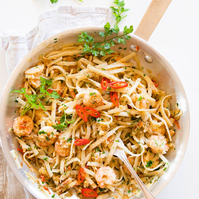 Crab and Prawn Chilli Pasta