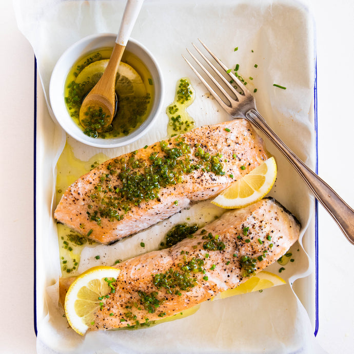 Salmon with Lemon and Chive Dressing