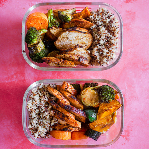 Leah Itsines Curried Chicken Roast Veg And Quinoa Meal Prep