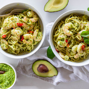 Avocado Pesto & Prawn Pasta