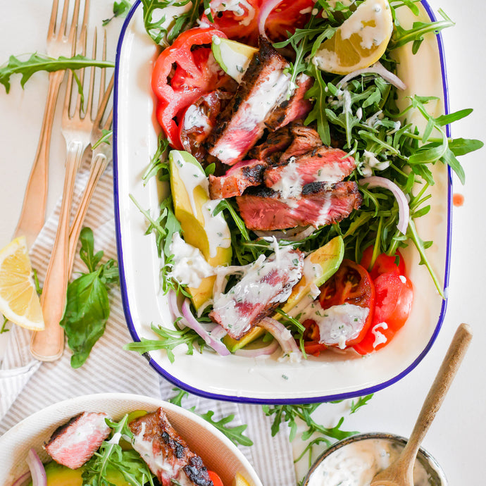 Steak Salad with Garlic and Chive Yoghurt Dressing
