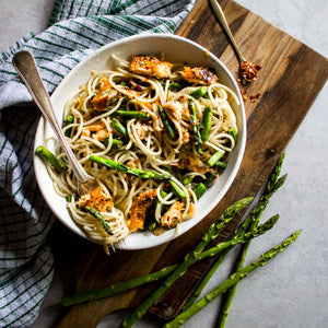 Hot Smoked Salmon and Asparagus Pasta