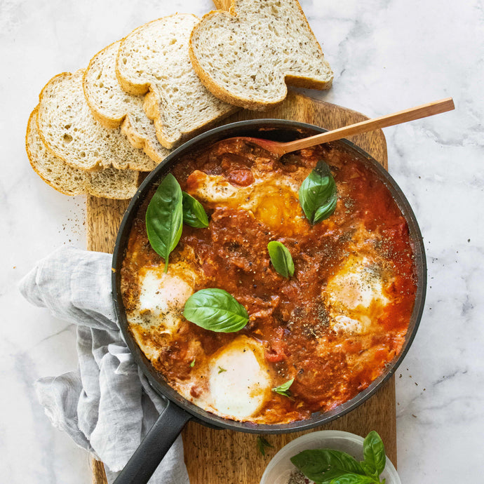 Black Bean Shakshuka With Spelt and Chia seed Dippers