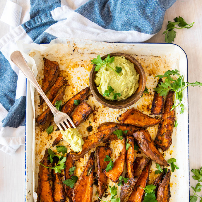 Sweet Potato Fries with Avocado Hummus