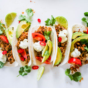 Veggie Beef Tacos with Lime Yoghurt Dressing