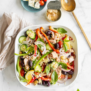 Garlic tuna Greek Salad with Risoni