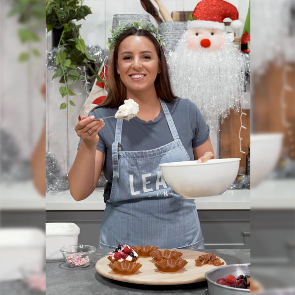 Leah Itsines with Christmas Brandy Snap Baskets