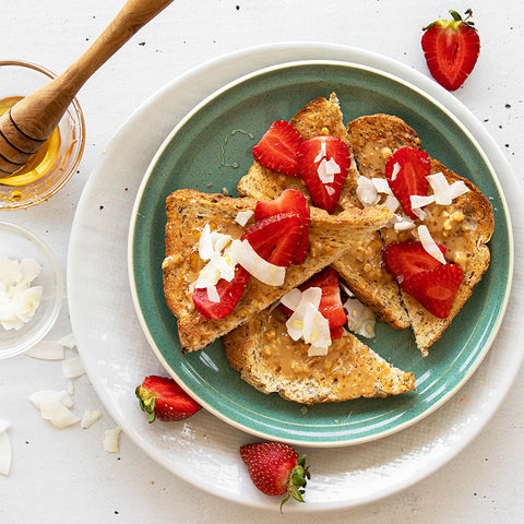 BARE Lean Peanut Butter Toast with Strawberries, Coconut and Honey Recipe