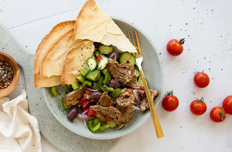 Pork Salad with Pita Chips from BARE Lean