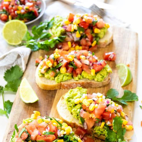 Avocado on toast with corn & tomato salsa