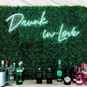 Drunk in Love wedding neon sign LED white green wall