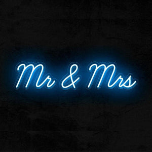 Mr and Mrs wedding neon sign blue