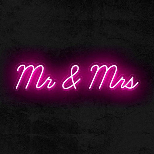 Mr and Mrs wedding neon sign pink
