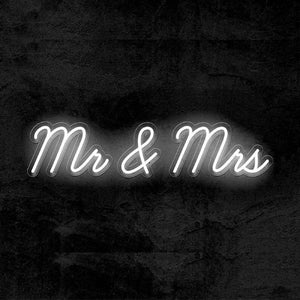Mr and Mrs wedding neon sign white