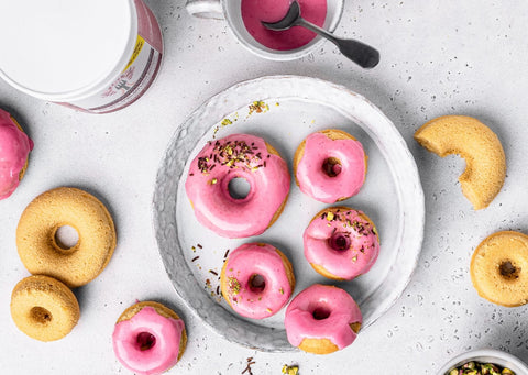 Valentines day lemon and raspberry collagen donuts