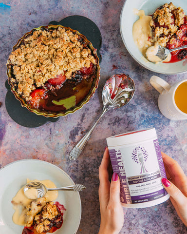 Balsamic and plum collagen crumble with female hands holding tub of Edible Health Bovine Collagen Powder
