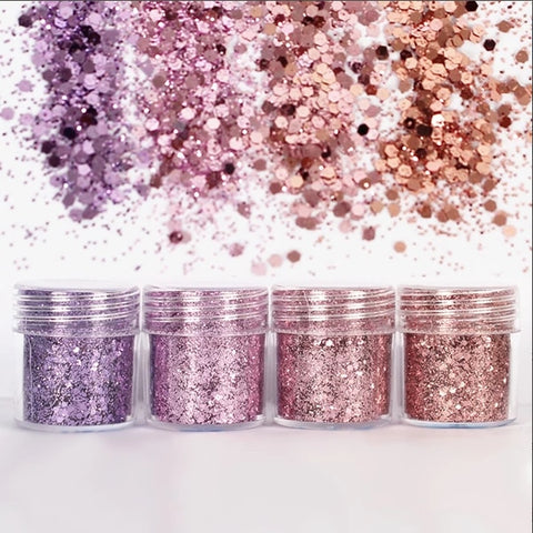 Purple Pink Hexagon Glitter Sequin Mix for Resin Crafts